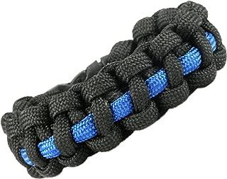 Strong Point Enterprises Thin Blue Line Law Enforcement Support Paracord Survival Bracelet (Black with Dark Blue Line)