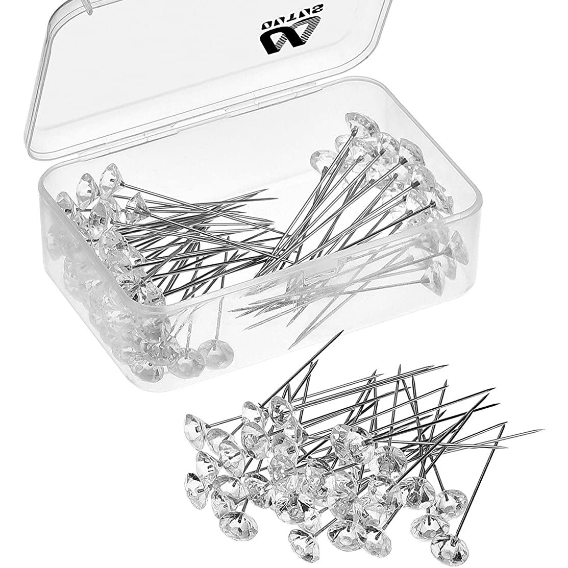 Outus 100 Pieces Flower Pins Corsages Pins Head Pins Wedding Bouquet Pins Crystal Pins Floral Bouquet Pins Clear (2 Inch)