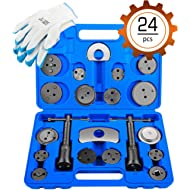 OrionMotorTech 24-Piece Disc Brake Caliper Tool Kit, Front and Rear Brake Piston Compression...