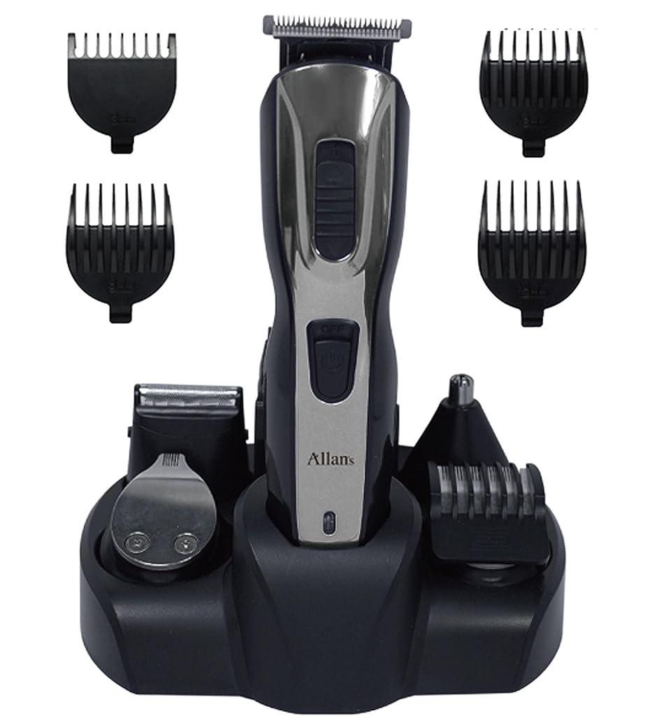 Allans 充電式 メンズ グルーミング オールマイティ 5 (髪バリカン、髭剃り、ラインバリカン、鼻毛、ボディ) MEBM-22
