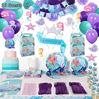 Mermaid Birthday Party Supplies Decorations Kit Favors - Serves 16 Guests -Tablecloth, Plates, Napkins, Cups, Spoons, Knives, Banner, Balloons, for Girl's Birthday Party and Baby Shower Decor -207 Pcs