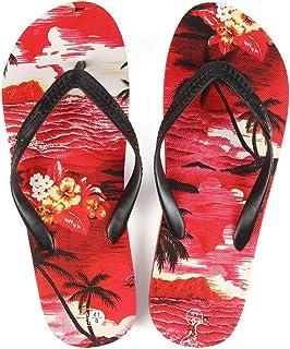 Hawaiian Print Sunset Beach Palm Hibiscus Wave Men Flip Flops Sandals in Red Sunset