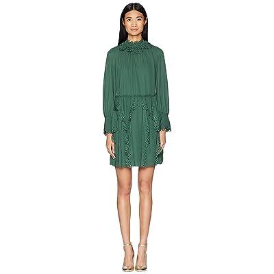 See by Chloe Laser Cut Eyelet Dress (Deep Green Marble) Women