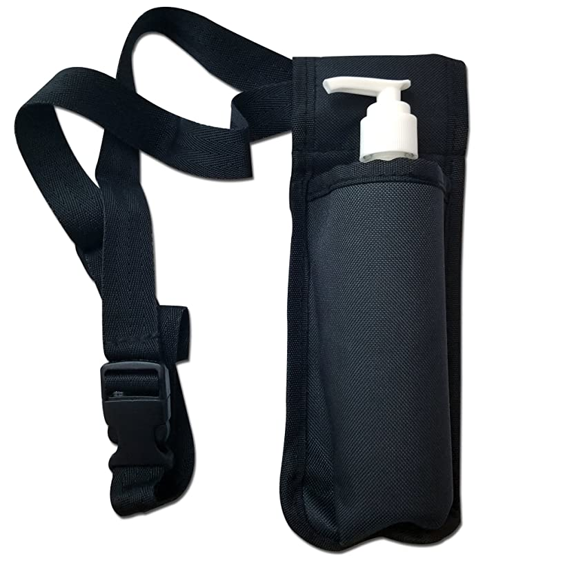 TOA Single Bottle Holster Adjustable Strap w/ 6oz Bottle for Massage Oil, Lotion, Cream