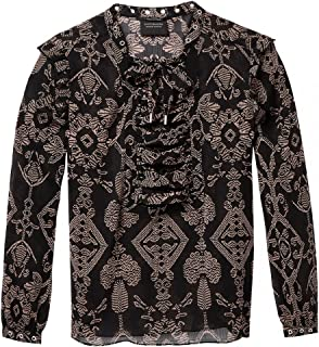 Maison Scotch Sheer Printed lace Up Eyelet Details Womens Top