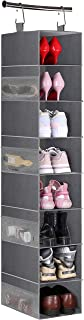 MISSLO 8-Shelf Hanging Shoe Organizer Clothes Closet Organizers and Storage Shelves Hat Holder with Large Shelf and Side M...