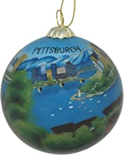 Hand Painted Glass Christmas Ornament - Pittsburgh, Pennsylvania Skyline and Rivers