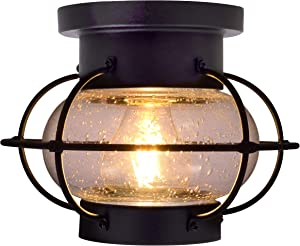 SYLVANIA General Lighting Sylvania 75515 Essex Cage Light Vintage Fixture, LED, Semi-Flush Mount, Dimmable Bulb Included, Antique Black