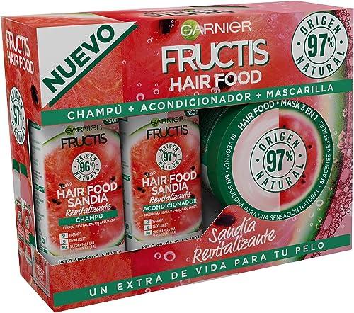 Garnier Fructis Hair Food, Pack Sandía Revitalizante con Champú, Acondicionador y Mascarilla, Limpia, Desenreda, Nutr...