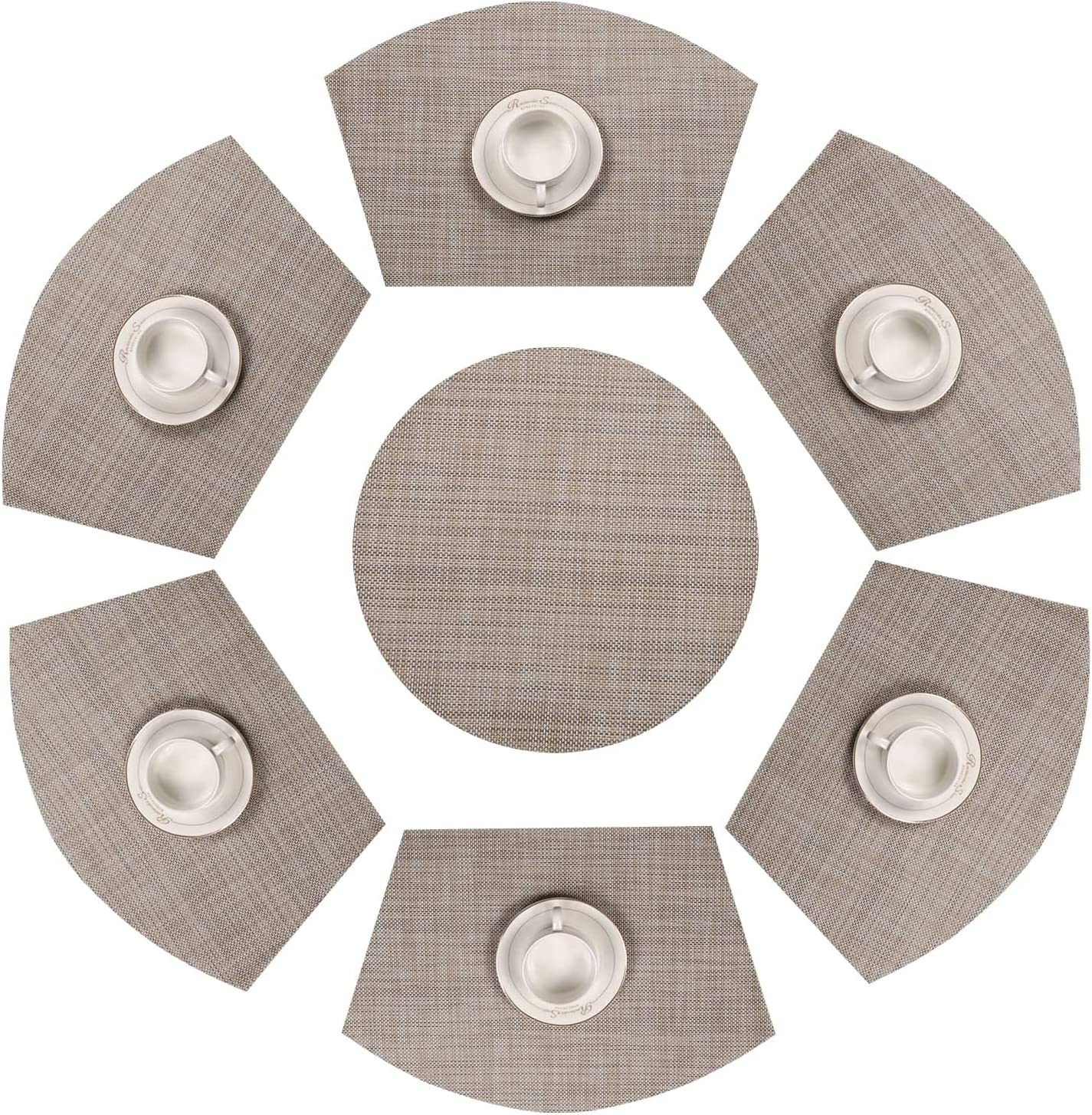 SHACOS Round Table Placemats Set of 7 Wedge Placemats with Centerpiece Round Mats Heat Resistant Washable (7, Beige White Black)