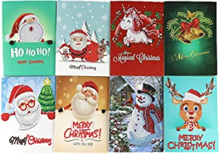 Mofeng 8 Pcs Christmas Cards 5D DIY Diamond Painting Rhinestone Greeting Holiday Cards Kits Include Christmas Bells, Reindeer, Snowman, Santa Claus Cards