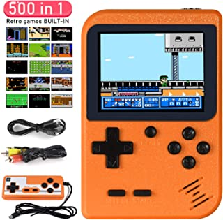 Handheld Game Console, Imponigic Retro Mini Game Player with 500 Classical FC Games Double Players Mode Support Connect TV - Orange