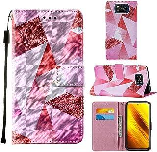 WVYMX Xiaomi Poco X3 NFC ケース, Xiaomi Poco X3 NFC カードホルダー付きケース, PUレザーリストストラップカードスロット保護フリップカバー for Xiaomi Poco X3 NFC Pink