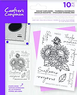 Crafters Companion Floral Decoupage Clear Acrylic Stamps-Radiant Sunflowers, us:one size, Transparent