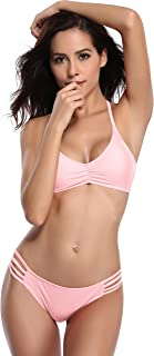 Womens Bikini Padded Cutout Strappy Halter Swimsuits Two Piece Bathing Suits (Small/(US 4-6), Dirty Pink)