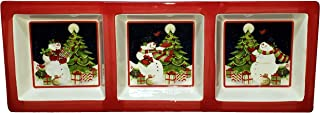 Christmas Snowman Theme Hand Painted Ceramic 3-Section Relish Tray