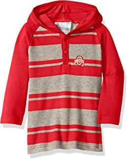 Two Feet Ahead NCAA Ohio State Buckeyes Toddler Boys Rugby Long Sleeve Hooded Shirt, Size 2, Red/Heather