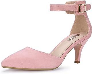 42de3daf953a IDIFU Women s IN3 D Orsay Pointed Toe Ankle Strap Mid Heel Low Kitten Dress  Pump