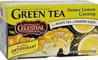 Celestial Seasonings Green Tea Honey Lemon Ginseng with White Tea - 20 Tea Bags - Case of 6 - Gluten Free -