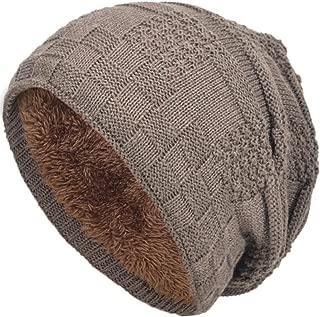 Warm Winter Beanie Hat for Men Fleece Lined Knit Beanie Hat Oversized Baggy Slouchy Beanie Skull Cap Hat
