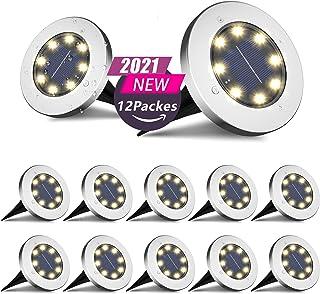 Otdair Solar Ground Lights, 8 LED Warm Light Outdoor Solar Disk Lights, Waterproof In-Ground Lights, Solar Garden Lights, ...