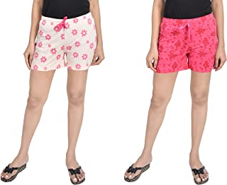 A9- Women Printed Peach, Pink Shorts - Pack of 2