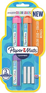 Paper Mate Clearpoint Color Lead and Eraser Mechanical Pencil Refills, 0.7mm, Assorted Colors, 6 Count