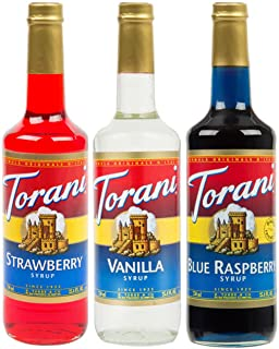 Torani Syrup Patriotic Flavor 3 Pack, Strawberry (Red), Vanilla (White), Blue Raspberry, Each 25.4 Ounces
