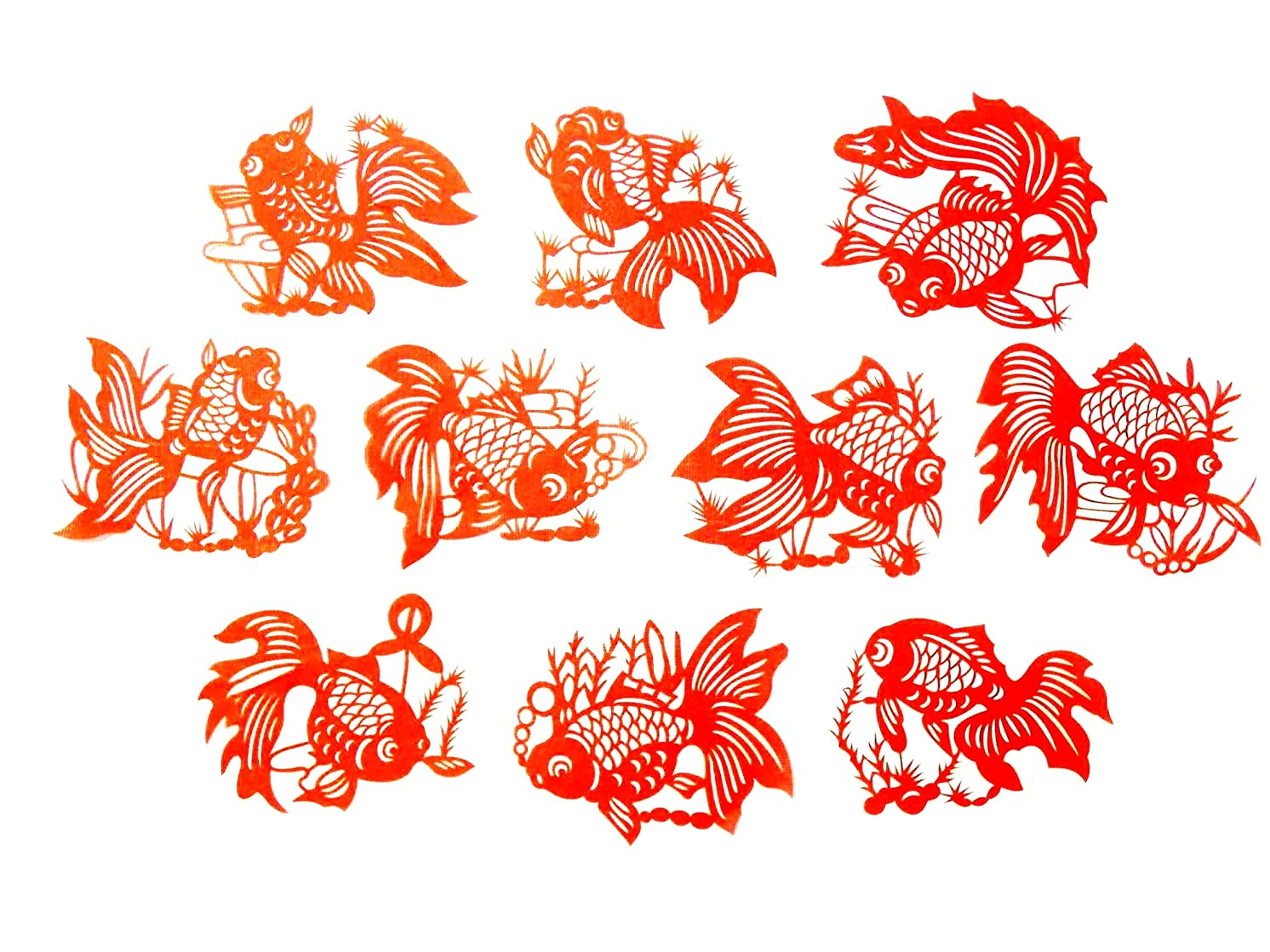 Chinese red Goldfish Paper-Cut (10-Pieces Set)