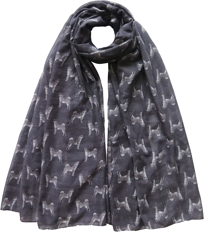 Lina & Lily Shiba Inu Dog Print Scarf Shawl Wrap Lightweight, Gift for Dog Lover