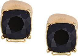 Gold Clip/Jet 12mm Faceted Square Stone Earrings