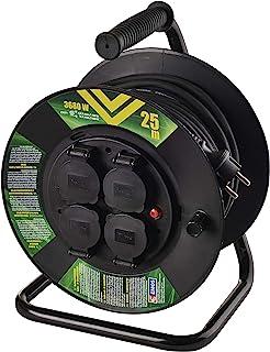 EMOS P08225 Profi-Kabeltrommel, 25m Kabel mit 4 Schuko Steckdosen, 1,5 mm2 Gummi, IP44, für Außenbereich, 25 Meter