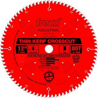 Freud 12 In. 80 Tooth Industrial Thin Kerf Fine Finish Crosscut Saw Blade with 1 In. arbor (LU88R012)
