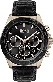 Hugo Boss Black Men'S Black Dial Black Leather Watch - 1513753