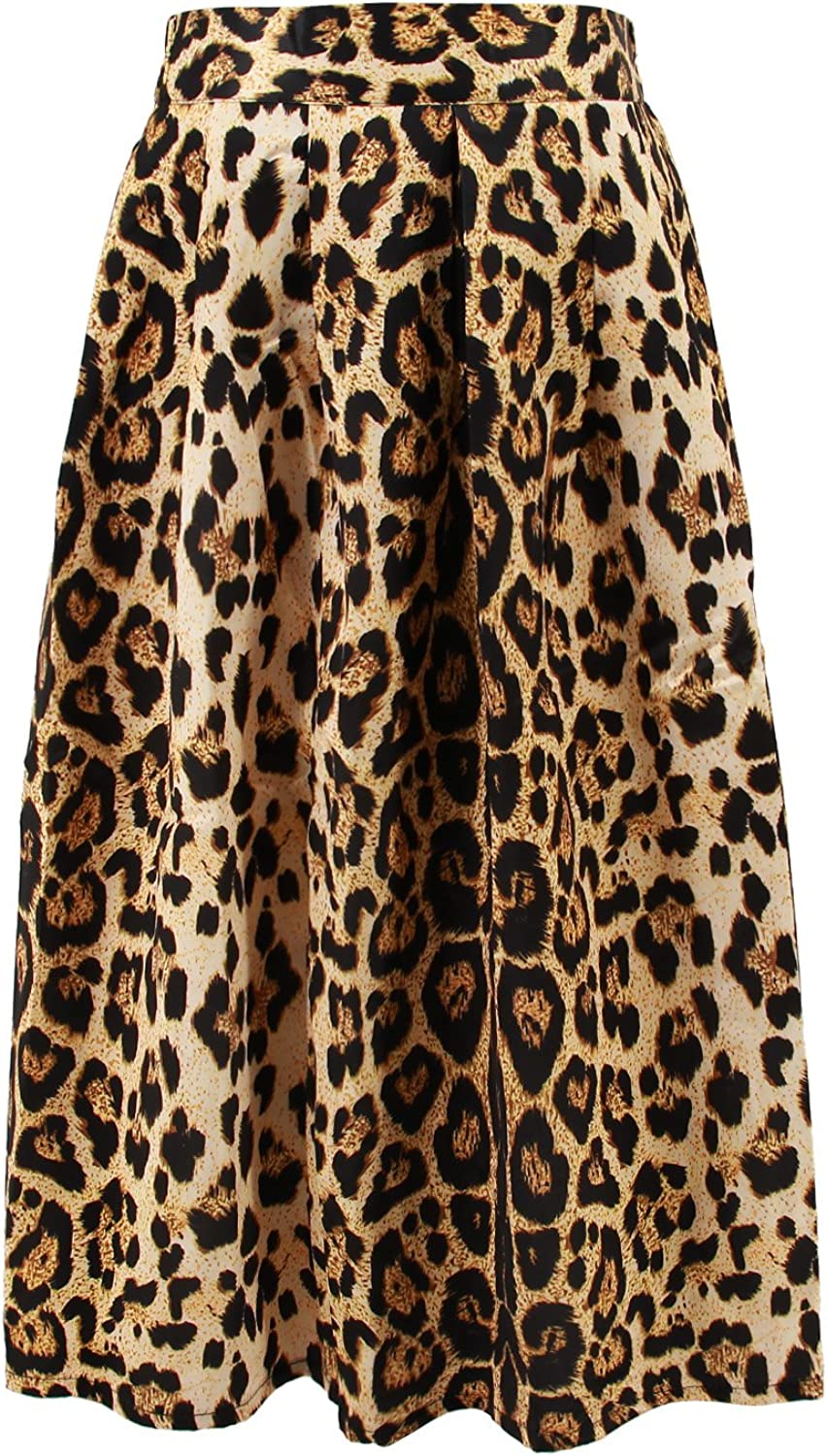 Hoohu Women's Vintage Fashion Animal Tiger Leopard Print Pleated Umbrella High Elastic Waist ALine Midi Skirt Dress