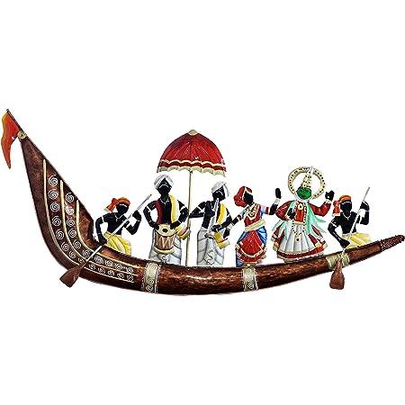 Doli Art & Craft Vintage Metal Emboss Painting Designer Musician On Ship Large Wall Hanging Showpiece Figurine Rajasthani Gift Home Decor 36x14x1.5 Inch, Standard, Multicolor