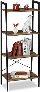 Relaxdays Estantería de pie con Cuatro estantes, Librería, Industrial, Abierta, Decorativa, 136,5x56x34cm, 1 Ud, Marrón, Aglomerado, 136.5 x 56 x 34cm