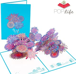 PopLife Fireworks 3D Pop Up New Years Card - NYE Popup, Happy Birthday, Independence Day Fourth of July, Congratulations Card - Fold Flat for Mailing - for Son, for Daughter, for Friend, for Coworker