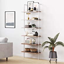 Nathan James Theo 6-Shelf Tall Bookcase, Wall Mount Bookshelf with Natural Wood Finish and Industrial Metal Frame, Rustic ...