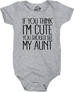 If You Think Im Cute You Should See My Aunt Creeper Funny Family Baby Jumpsuit