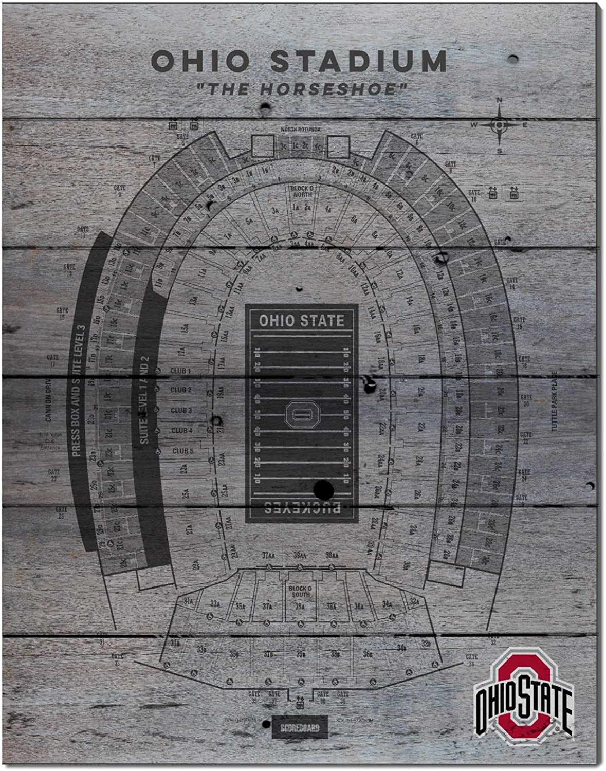 KH Sports Fan 16 x20  Ohio State Buckeyes Seating Chart Collage Pallet Pride Plaque