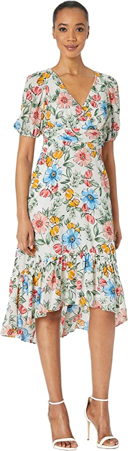 Short Bubble Sleeve Midi Dress w/ Ruffle High-Low Hem, V-Neck and Waist Ruching