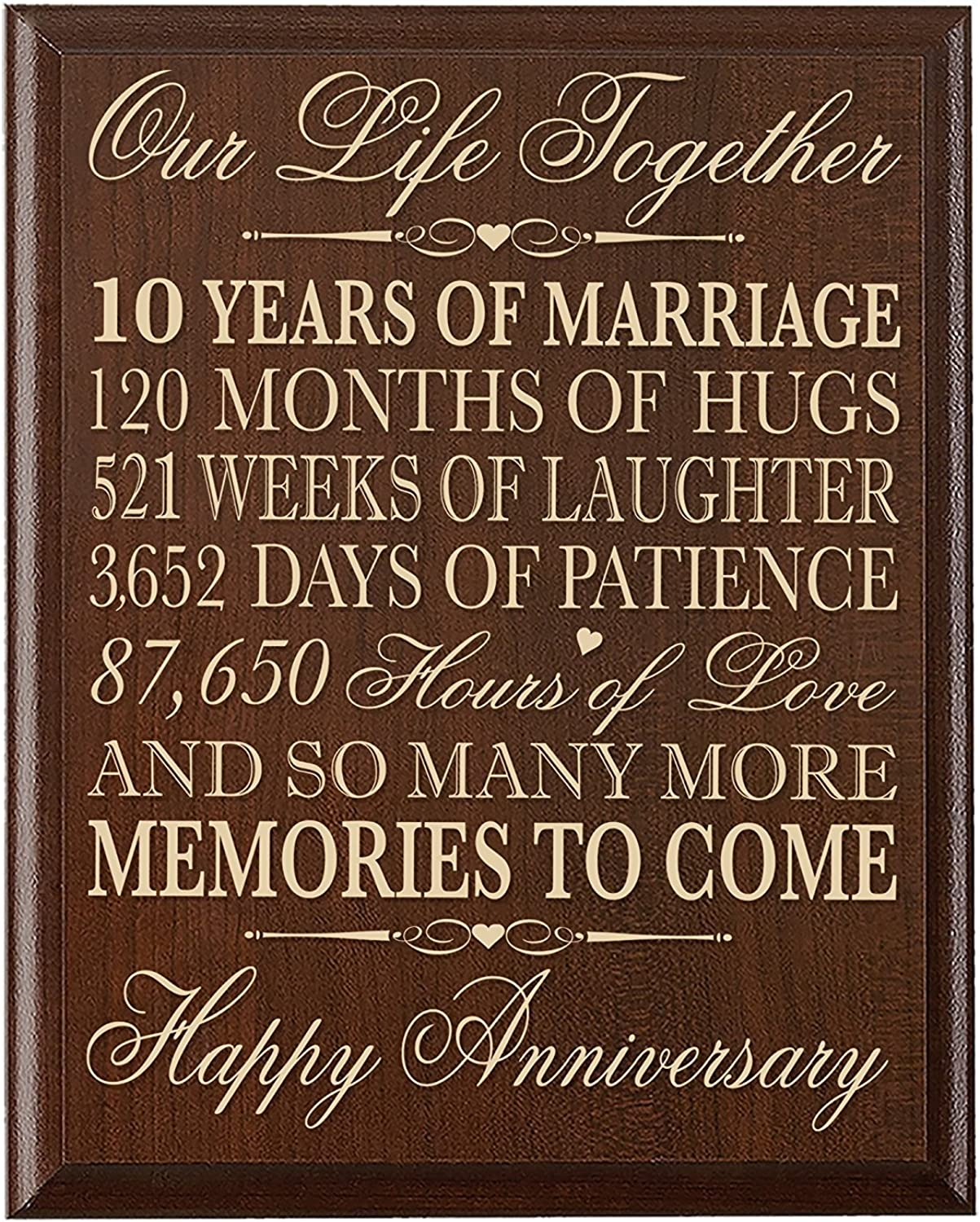 LifeSong Milestones 10th Wedding Anniversary Wall Plaque Gifts for Couple, 10th Anniversary Gifts for Her,10th Wedding Anniversary Gifts for Him 12 Inches Wide X 15 Inches High Wall Plaque By