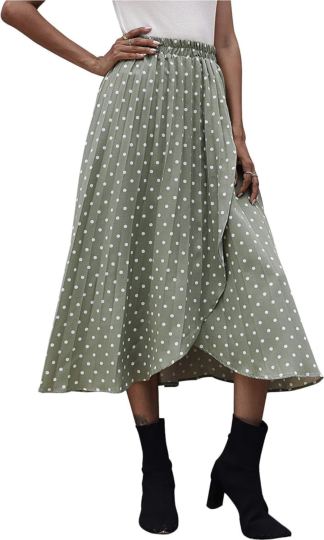 Yimoon Women's Casual High Waist Polka Dot Flare Side Slit Midi Skirt
