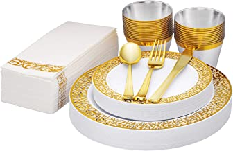 """Gold Disposable Dinnerware Set Gold Rim, 175 Pack Of Heavy-Duty Plastic Party plates, 25 Guest, 25 Dinner Plates 10.25"""", 2..."""