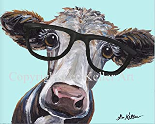 Cow art Print, Cora' Cow Print, Cute cow with glasses