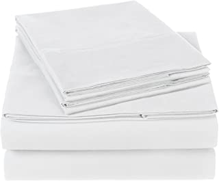 Pinzon 300 Thread Count Organic Cotton Bed Sheet Set, Queen, White