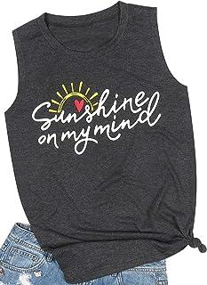 MAXIMGR Sunrise Sunburn Sunset Repeat Tank Top Women Summer Sunshine Graphic Tanks Casual Sleeveless T-Shirt