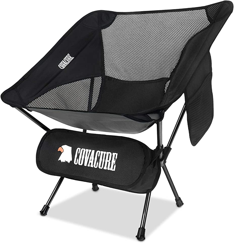 COVACURE Camping Chair - Ultralight Folding Camping Chair, Heavy Duty 150kg Capacity, Compact, Portable Outdoor Chair with Carry Bag for Camping, Hiking, Fishing, Garden, Beach & BBQs