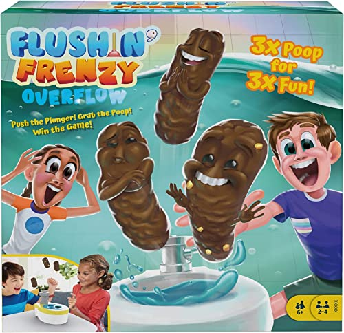 Mattel Games ​Flushin' Frenzy Overflow Kids Game with Toy Toilet, 3 Poopers, 1 Die & Instructions, Gift for Children ...